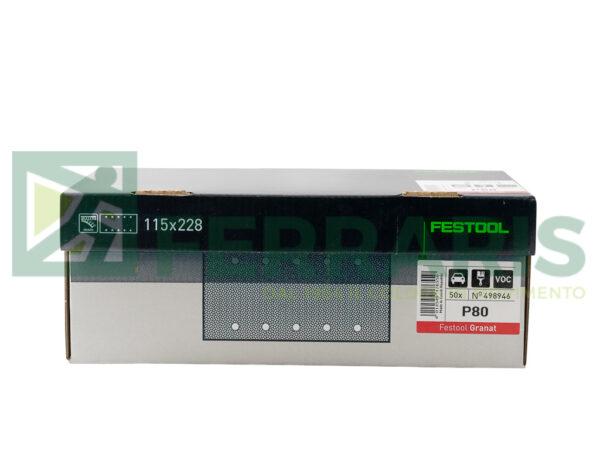 FESTOOL 498946 FOGLI ABRASIVI (115X228)mm P80 PEZZI 50