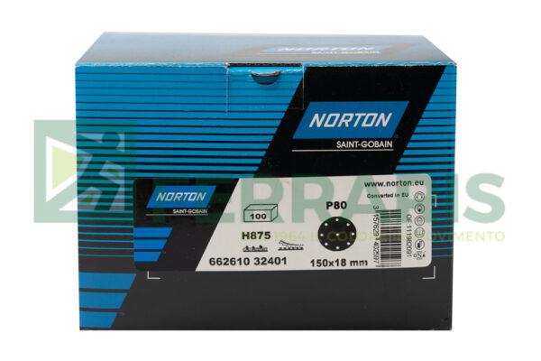 NORTON 32401 DISCHI NORZON H875 BLU P80 DIAMETRO 150 MM 9 FORI PEZZI 100