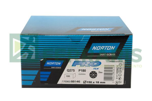 NORTON DISCHI ABRASIVI PRO FILM Q275 P180 DIAMETRO 150 MM 15 FORI PEZZI 100
