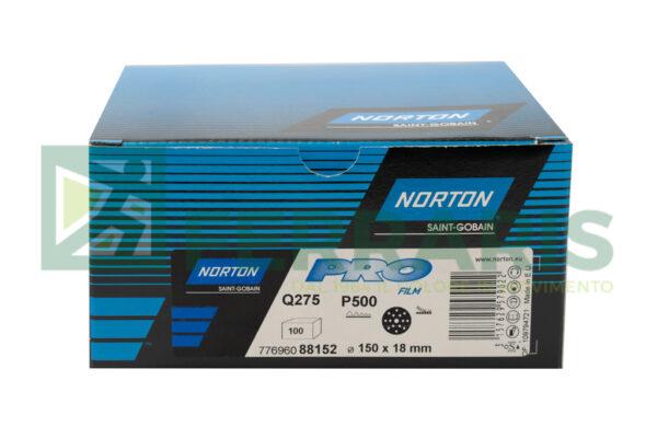 NORTON DISCHI ABRASIVI PRO FILM Q275 P500 DIAMETRO 150 MM 15 FORI PEZZI 100