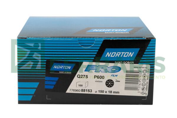 NORTON DISCHI ABRASIVI PRO FILM Q275 P600 DIAMETRO 150 MM 15 FORI PEZZI 100